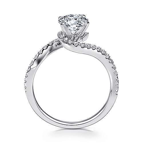 Adina 14k White Gold Round Bypass Engagement Ring angle 2