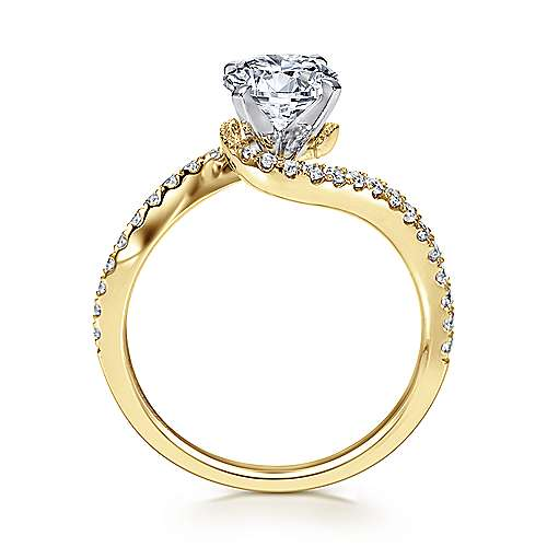 Adina 14k Yellow And White Gold Round Bypass Engagement Ring angle 2