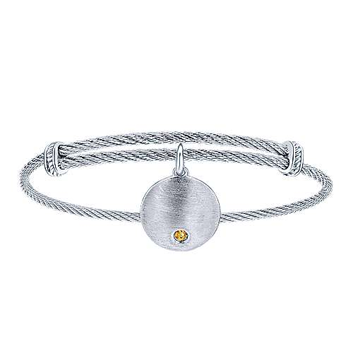 Adjustable Stainless Steel Bangle with Round Sterling Silver Citrine Stone Disc Charm