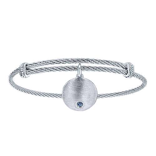 Adjustable Stainless Steel Bangle with Round Sterling Silver Sapphire Stone Disc Charm