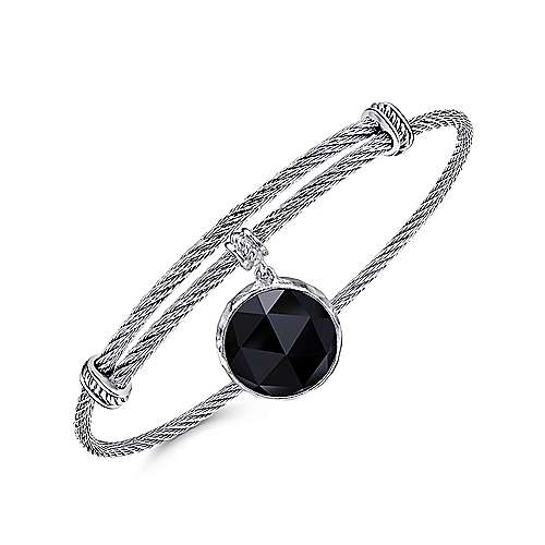 Adjustable Twisted Cable Stainless Steel Bangle with Round Sterling Silver Rock Crystal/Black Onyx Charm