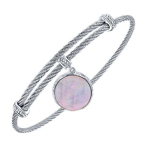 Adjustable Twisted Cable Stainless Steel Bangle with Round Sterling Silver Rock Crystal/Pink MOP Charm