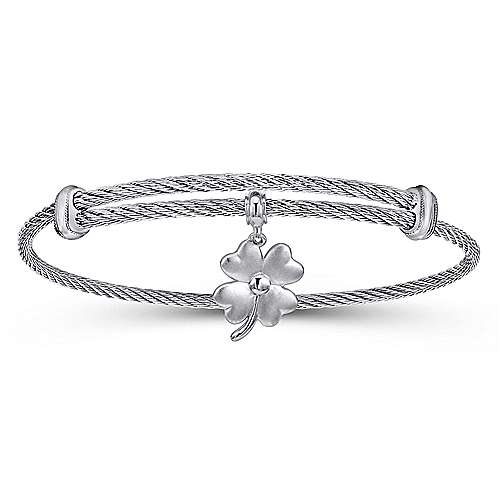 Adjustable Twisted Cable Stainless Steel Bangle with Sterling Silver 4 Leaf Clover Charm