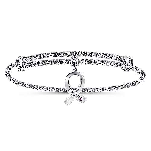 Adjustable Twisted Cable Stainless Steel Bangle with Sterling Silver Amethyst Breast Cancer Charm