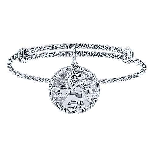 Adjustable Twisted Cable Stainless Steel Bangle with Sterling Silver Angel Charm