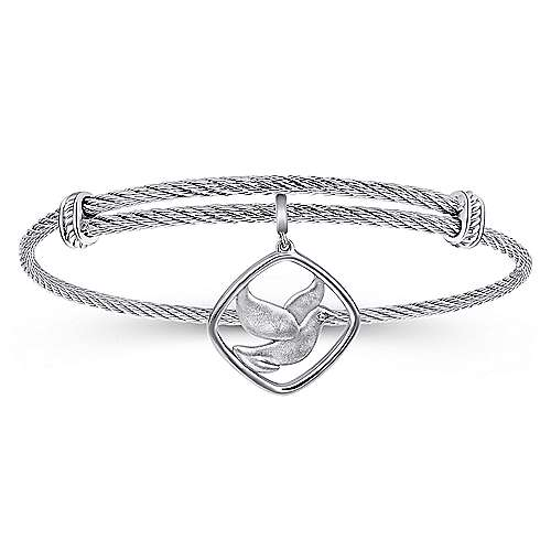 Adjustable Twisted Cable Stainless Steel Bangle with Sterling Silver Bird Charm