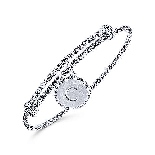 Adjustable Twisted Cable Stainless Steel Bangle with Sterling Silver C Initial Charm