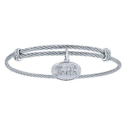 Adjustable Twisted Cable Stainless Steel Bangle with Sterling Silver Diamond Faith Charm