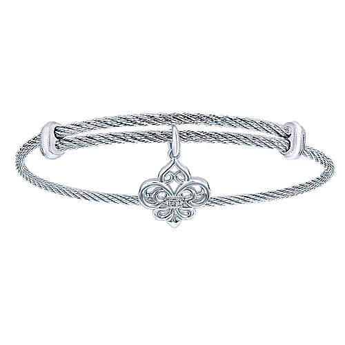 Adjustable Twisted Cable Stainless Steel Bangle with Sterling Silver Diamond Fleur de Lis Charm