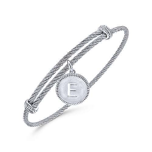 Adjustable Twisted Cable Stainless Steel Bangle with Sterling Silver E Initial Charm