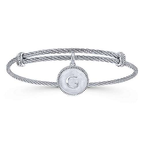Adjustable Twisted Cable Stainless Steel Bangle with Sterling Silver G Initial Charm