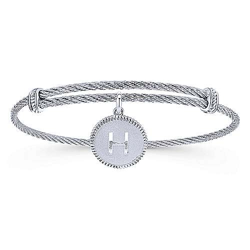 Adjustable Twisted Cable Stainless Steel Bangle with Sterling Silver H Initial Charm