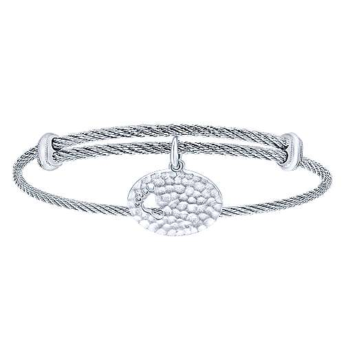 Adjustable Twisted Cable Stainless Steel Bangle with Sterling Silver Hammered Footprint Charm