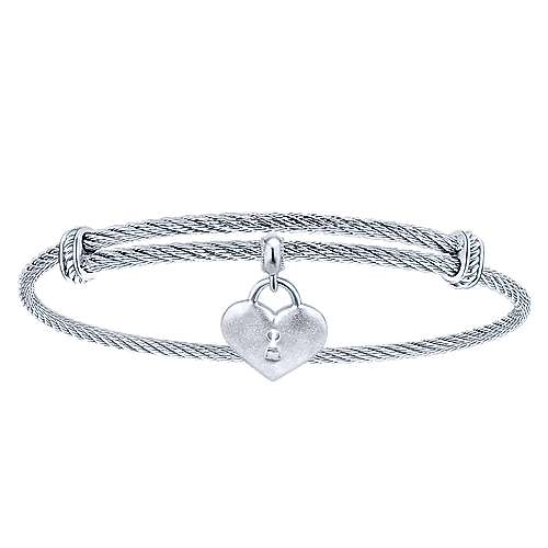 Adjustable Twisted Cable Stainless Steel Bangle with Sterling Silver Heart Lock Charm