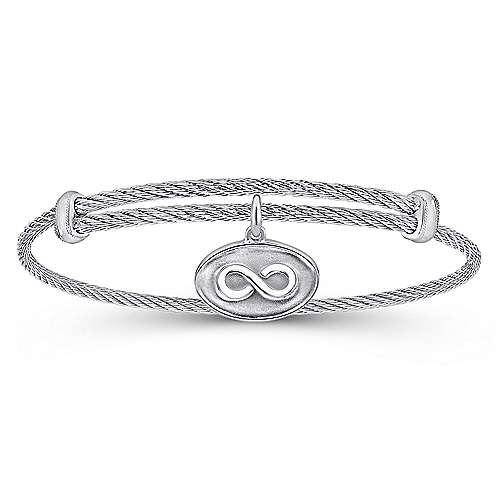 Adjustable Twisted Cable Stainless Steel Bangle with Sterling Silver Infinity Charm