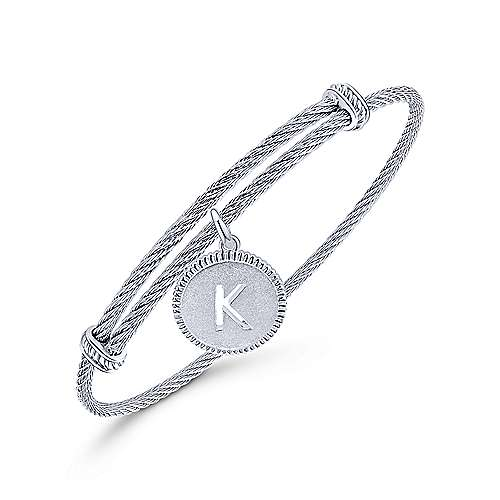 Adjustable Twisted Cable Stainless Steel Bangle with Sterling Silver K Initial Charm