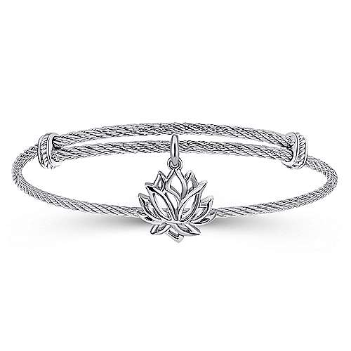 Adjustable Twisted Cable Stainless Steel Bangle with Sterling Silver Lotus Charm