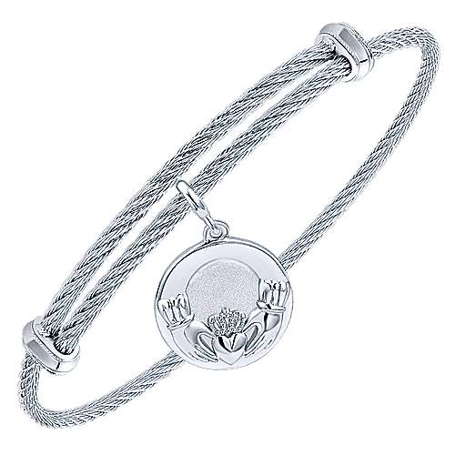Adjustable Twisted Cable Stainless Steel Bangle with Sterling Silver Loving Hands Charm