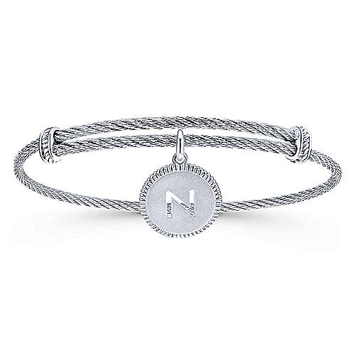 Adjustable Twisted Cable Stainless Steel Bangle with Sterling Silver N Initial Charm