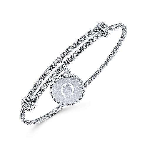 Adjustable Twisted Cable Stainless Steel Bangle with Sterling Silver O Initial Charm
