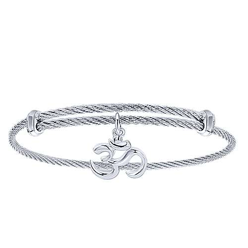 Adjustable Twisted Cable Stainless Steel Bangle with Sterling Silver Ohm Charm