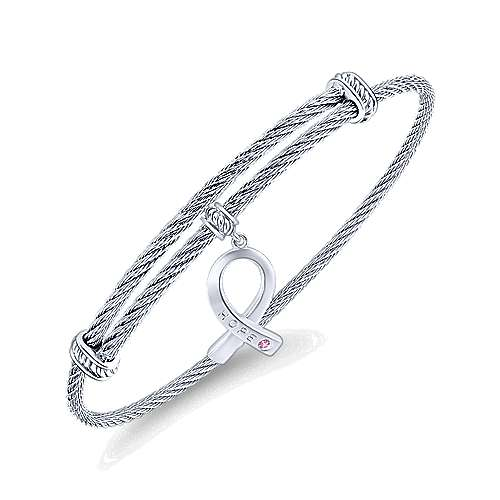 Adjustable Twisted Cable Stainless Steel Bangle with Sterling Silver Pink Zircon Breast Cancer Charm