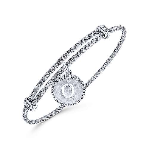 Adjustable Twisted Cable Stainless Steel Bangle with Sterling Silver Q Initial Charm