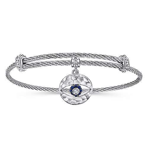 Adjustable Twisted Cable Stainless Steel Bangle with Sterling Silver Sapphire Evil Eye Charm