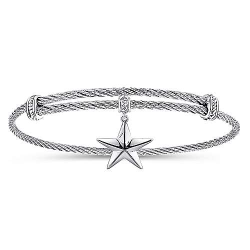 Adjustable Twisted Cable Stainless Steel Bangle with Sterling Silver Star Charm