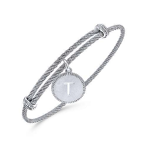 Adjustable Twisted Cable Stainless Steel Bangle with Sterling Silver T Initial Charm