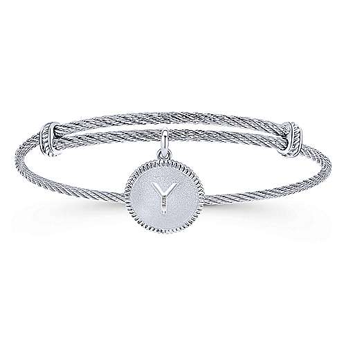 Adjustable Twisted Cable Stainless Steel Bangle with Sterling Silver Y Initial Charm