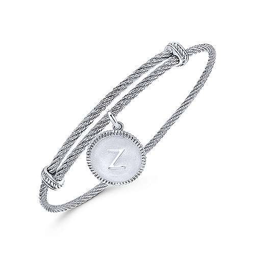 Adjustable Twisted Cable Stainless Steel Bangle with Sterling Silver Z Initial Charm