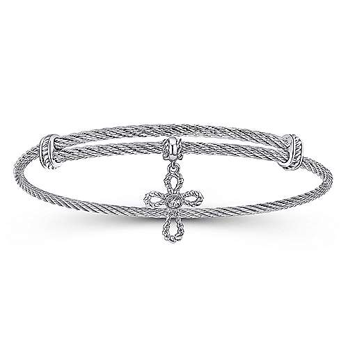 Adjustable Twisted Cable Stainless Steel Bangle with Sterling Silver and White Sapphire Cross Charm