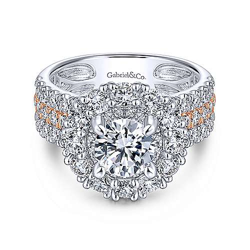 Gabriel - Adley 14k White And Rose Gold Round Double Halo Engagement Ring