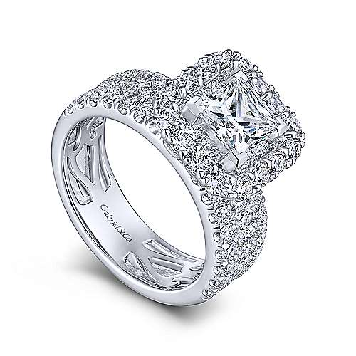 Adley 18k White Gold Princess Cut Double Halo Engagement Ring Angle 3