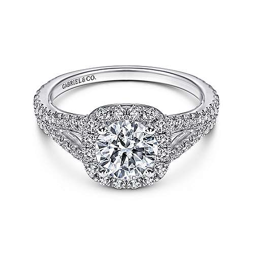 Gabriel - Admire 18k White Gold Round Halo Engagement Ring