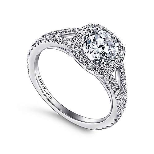 Admire 18k White Gold Round Halo Engagement Ring angle 3