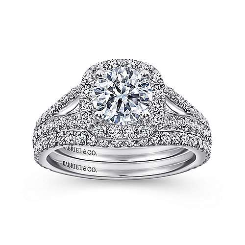 Admire 18k White Gold Round Halo Engagement Ring angle 4