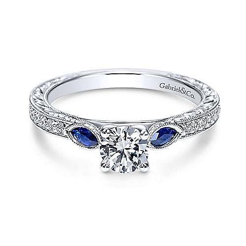 Gabriel - Adorn 14k White Gold Round 3 Stones Engagement Ring