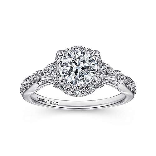 Adria 18k White Gold Round Halo Engagement Ring angle 5