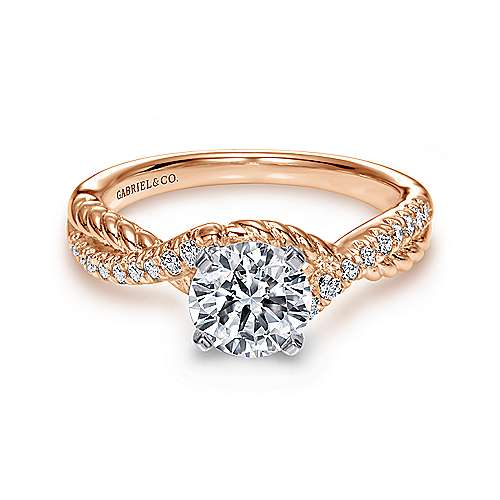 Adrianna 14k White And Rose Gold Round Twisted Engagement Ring angle 1