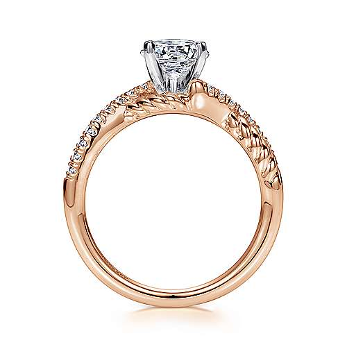 Adrianna 14k White And Rose Gold Round Twisted Engagement Ring angle 2