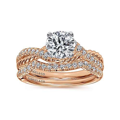 Adrianna 14k White And Rose Gold Round Twisted Engagement Ring angle 4