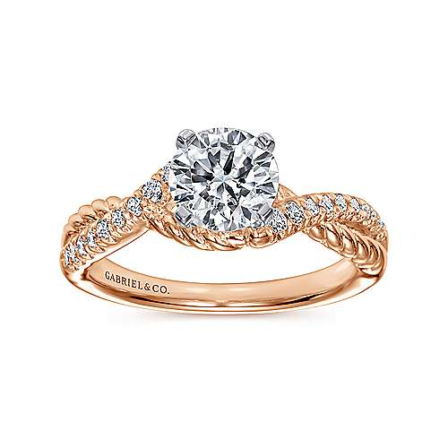 Adrianna 14k White And Rose Gold Round Twisted Engagement Ring angle 5