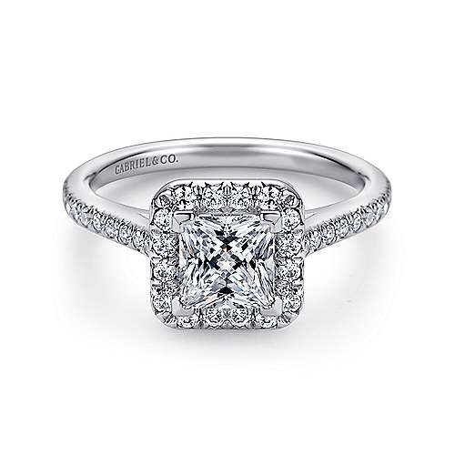 Gabriel - Adrienne 14k White Gold Princess Cut Halo Engagement Ring