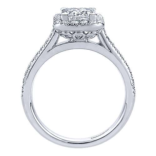 Adrienne 14k White Gold Princess Cut Halo Engagement Ring angle 2