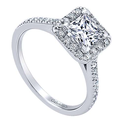 Adrienne 14k White Gold Princess Cut Halo Engagement Ring angle 3