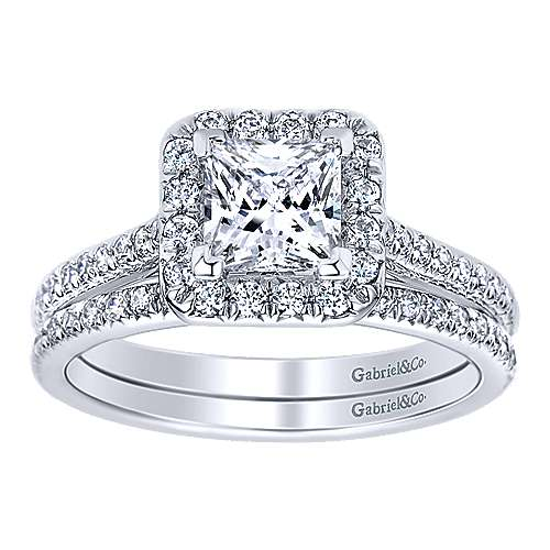 Adrienne 14k White Gold Princess Cut Halo Engagement Ring angle 4