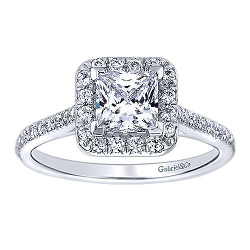 Adrienne 14k White Gold Princess Cut Halo Engagement Ring angle 5