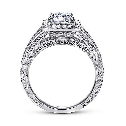 Agatha 14k White Gold Round Halo Engagement Ring angle 2
